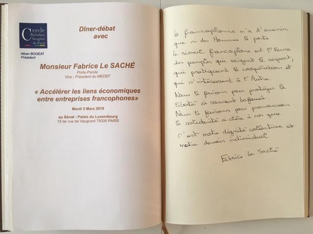 Le Livre d'or Du Cercle, le 5 mars 2019