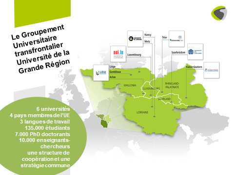 Carte et grands chiffres de l'Université de la Grande Région